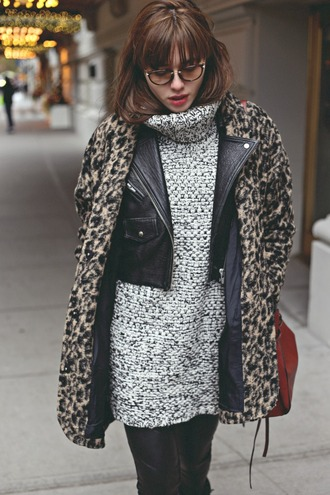 natalie off duty blogger sweater dress leather jacket faux fur leather pants knitted dress