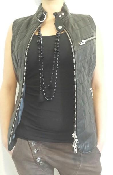 jacket black top black jacket interteam leather collection given given.dk leather pearls necklase black pearl copenhagen denmark trendy trendy trendy trendy danish danish designed dsnish design west coast