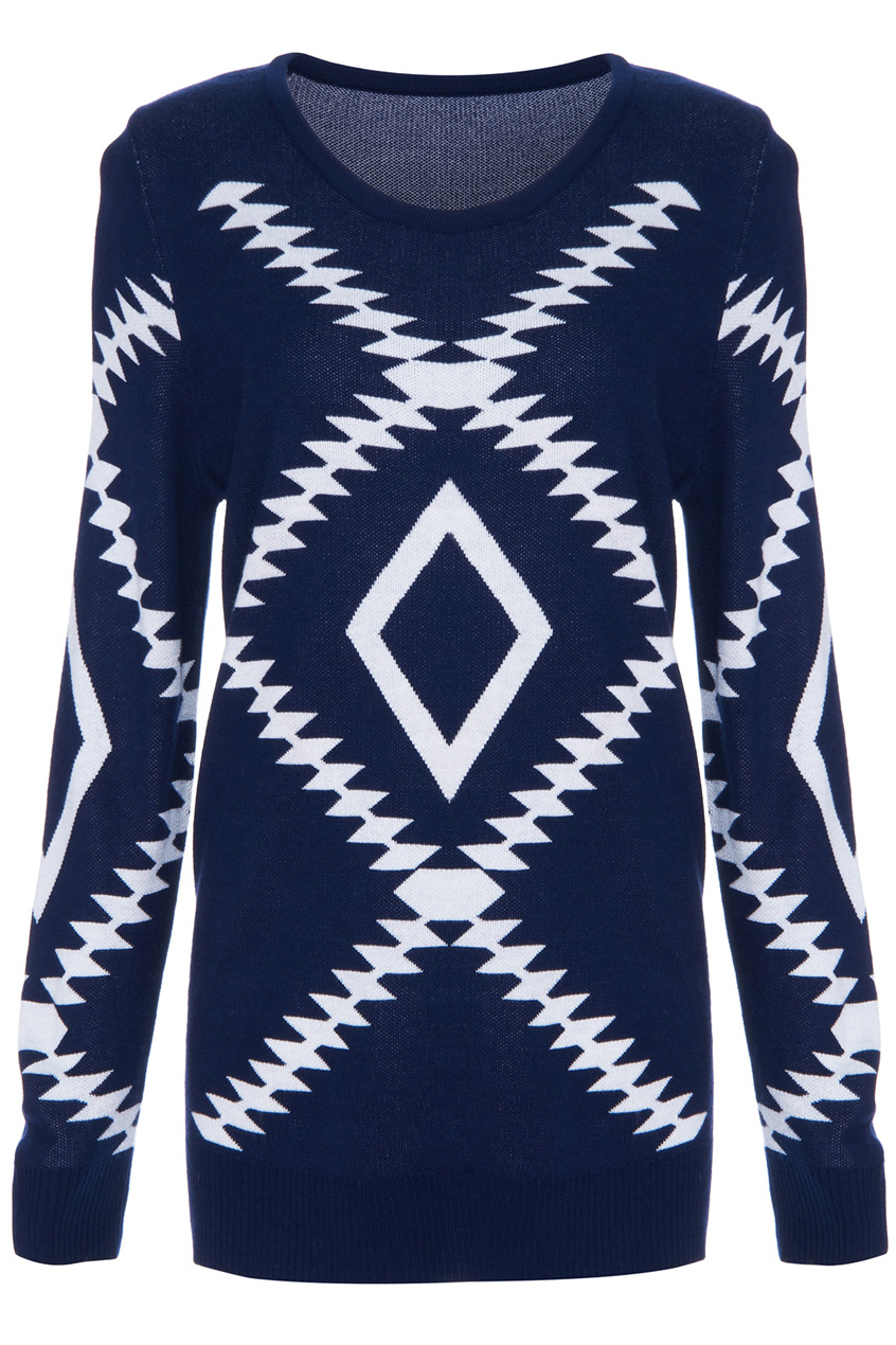 ROMWE | Geometric Pattern Dark Blue Jumper, The Latest Street Fashion