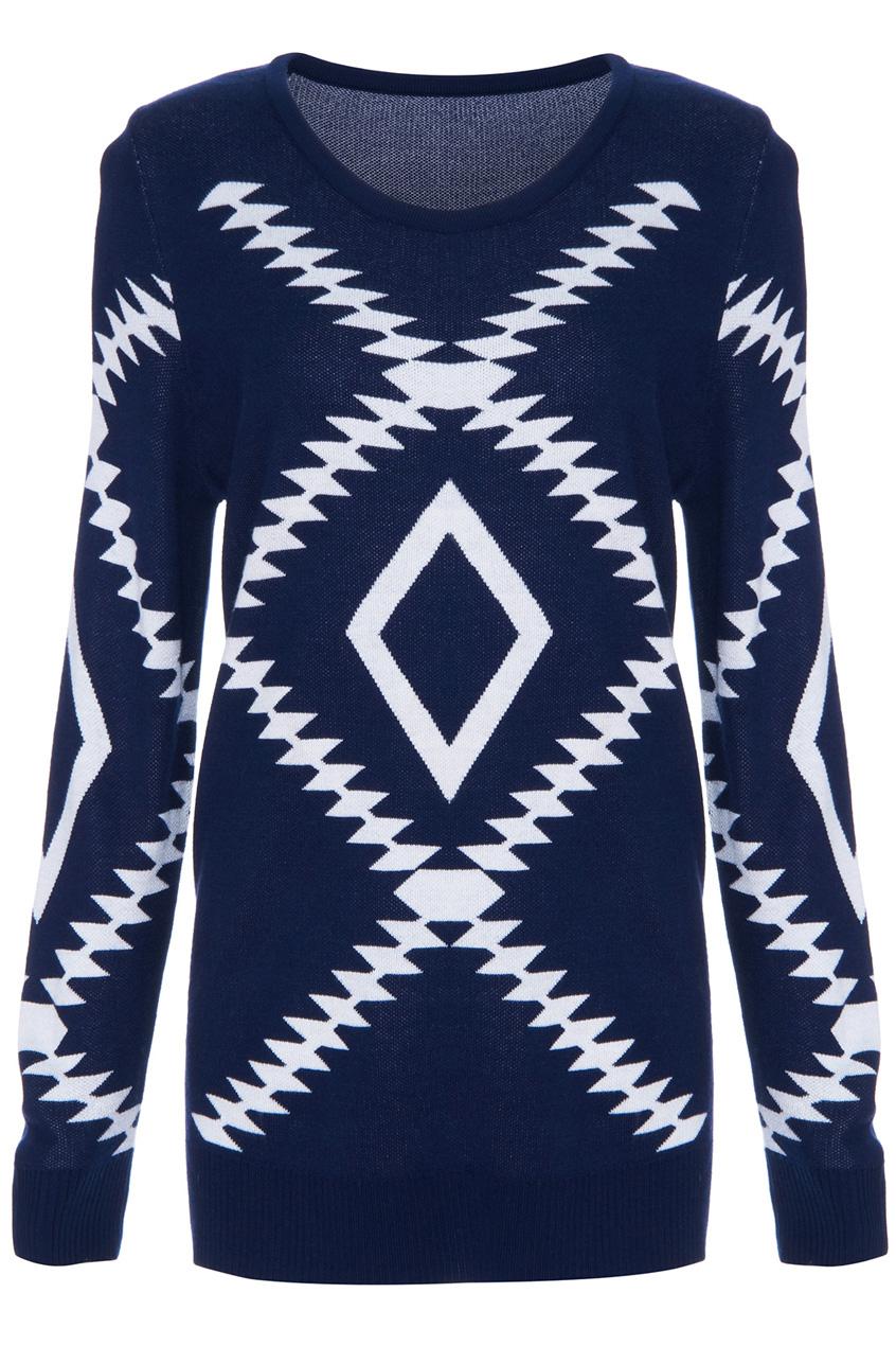 ROMWE | Geometric Pattern Dark Blue Jumper, The Latest Street Fashion