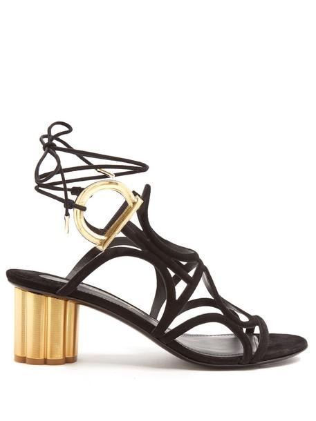 Salvatore Ferragamo heel sandals suede black shoes