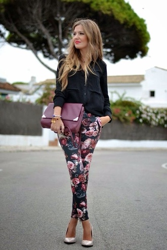 jeans floral pants blouse bag pants floral spring summer outfits blue chino
