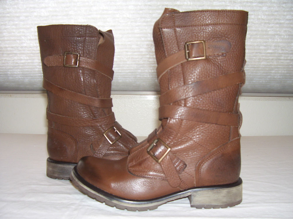 New Steve Madden Banddit Brown Distressed Leather Biker Boots Sz 6 Katniss | eBay