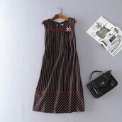 dress,comfortable outfit,summer,black dress,horizontal lines