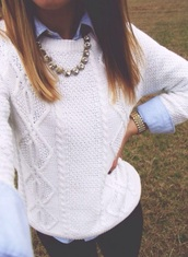 sweater,white,knit,blue,preppy sweater,black,preppy,preppy outfit,musthave preppy top,cute,cute outfits,cute top,sweater weather,white top,knitted sweater,knitwear,outfit,outfit idea,necklace,shirt,blue top,white sweater,cable knit,collar shirt,collared shirts,fall sweater,fall outfits,fall accessories,jewels,jewelry,gold,watch,gold watch,casual,preppy casual,black jeans,leggings,black leggings