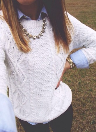 sweater white knit blue preppy sweater black preppy preppy outfit musthave preppy top cute cute outfits cute top sweater weather white top knitted sweater knitwear outfit outfit idea necklace shirt blue top white sweater cable knit collar shirt collared shirts fall sweater fall outfits fall accessories jewels jewelry gold watch gold watch casual preppy casual black jeans leggings black leggings