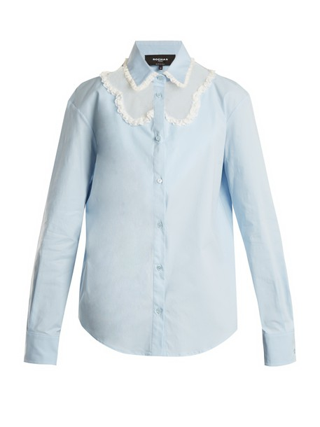 Rochas shirt lace cotton light blue light blue top