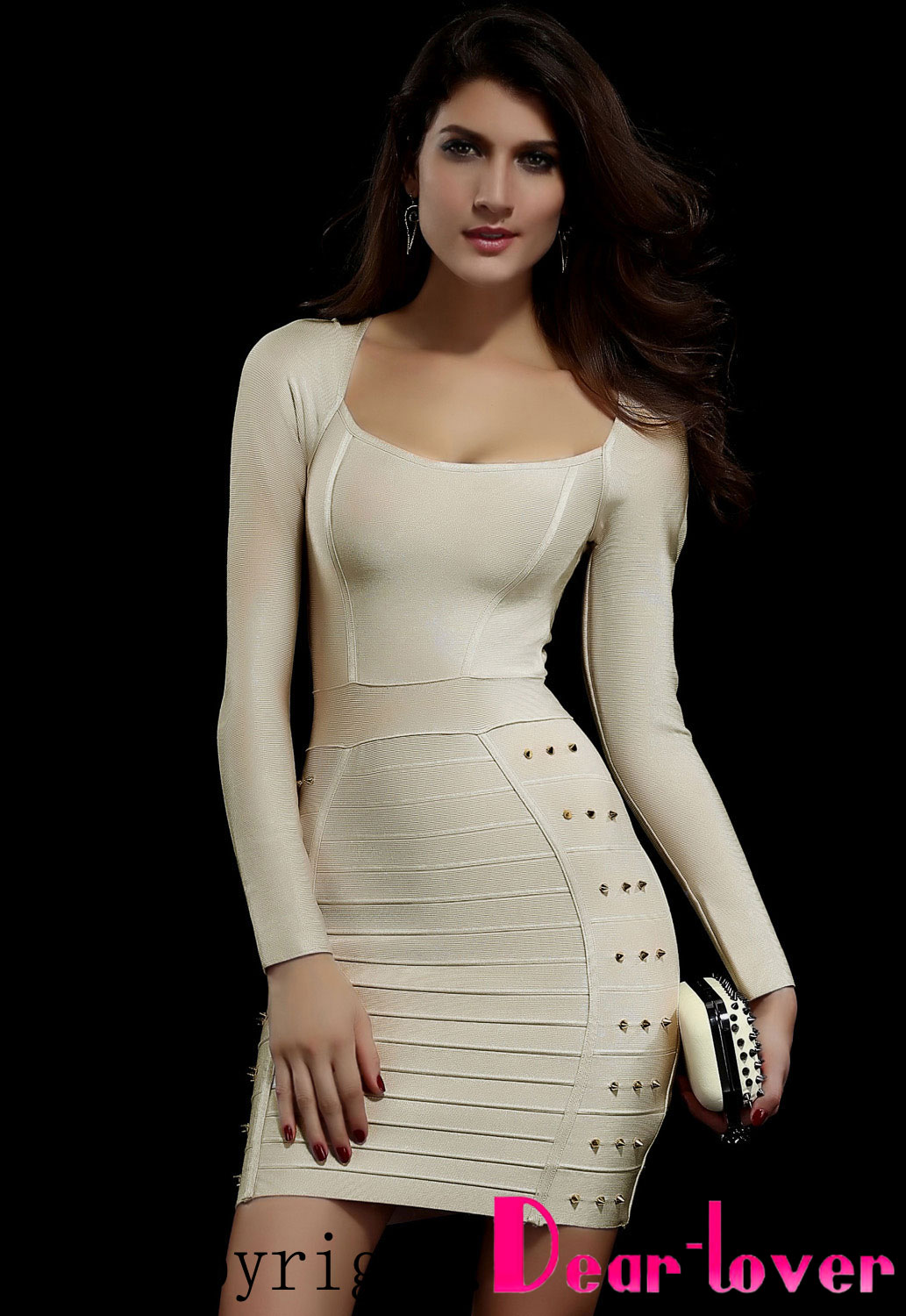 Dear-Lover Wholesale Beige Studded Evening Bandage Dress