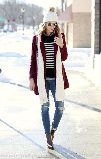 pennypincherfashion blogger coat sweater shirt jeans shoes bag scarf hat beanie burgundy coat striped sweater ankle boots winter outfits
