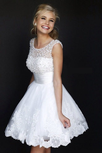 dress white pearl beaded lace  dress