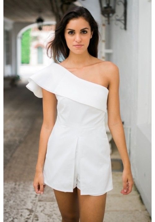 f02bd23a9044 White one shoulder ruffle peplum playsuit