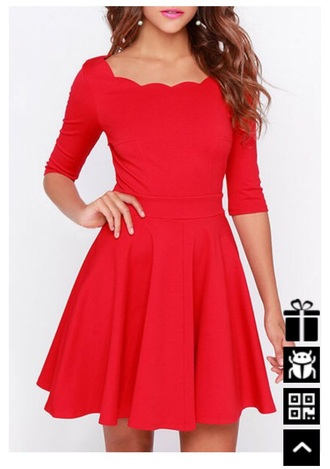 dress red dress red scalloped