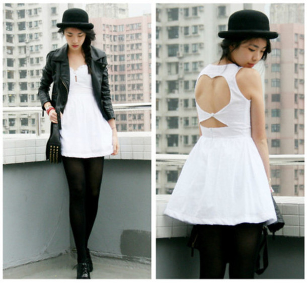 white white dress cut-out backless