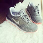 shoes,grey,orange,white,nike,nike sneakers