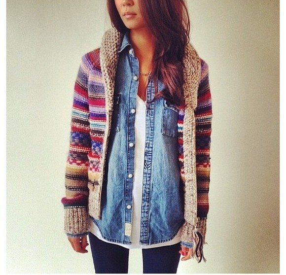 jeans shirt jacket oversized cardigan striped wollen red blue knit sweater sipper