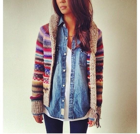 sipper jacket oversized cardigan stripes denim shirt wollen red blue knit sweater
