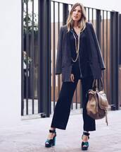 bag,tumblr,shoes,sandals,sandal heels,high heel sandals,platform sandals,velvet,velvet sandals,velvet shoes,pants,wide-leg pants,black pants,cropped pants,shirt,black shirt,coat,blazer,grey blazer,brown bag,handbag,pajama style,satin shirt,satin,cropped velvet pants,wide-leg velvet pants,black wide-leg velvet pants,black velvet pants,cropped wide-leg velvet pants