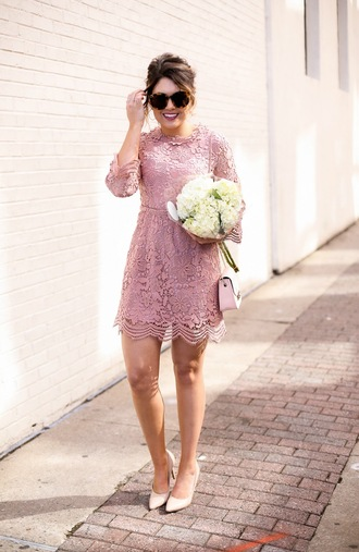 life & messy hair blogger shoes bag sunglasses dress lace dress pink dress high heel pumps pink bag