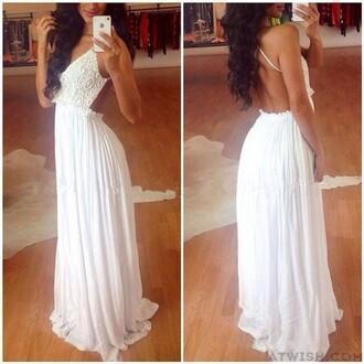 dress long dress chiffon dress lace dress backless dress white dress elegant dress