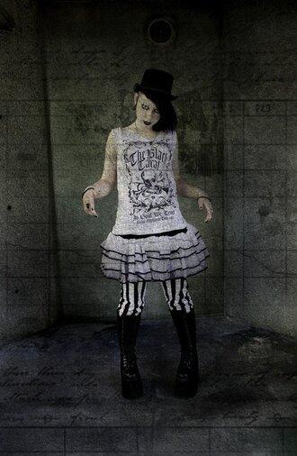 tutu t-shirt emo gothic goth platform shoes skirt