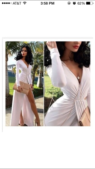 dress white v neck formal party prom gown sexy cute long long sleeve long sleeve dress