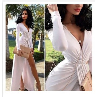 Dress white long sleeve gown party prom cute formal long sleeve dress