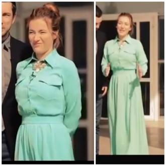 dress mint dress maxi dress collar tips dress with pockets long sleeve dress