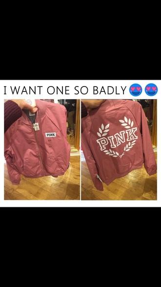 jacket bomber jacket pink by victorias secret