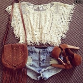 shirt,crop tops,boho,summer outfits,booties,shorts,hipster,bag,purse,shoes,tank top,t-shirt,blouse,lace,white,lookbook,and shorts?,jeffrey campbell,jeans,top,lovely,hot pants,short,beach,white crop tops,lace up,white lace top,lace crop top,holes,indie,country,heels,high,brown heels,brown pumps,denim shorts,country western top,belt,lace top