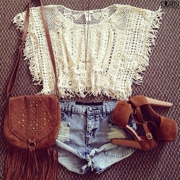 bag holes high heels indie hipster country style high brown heels brown pumps denim shorts country western top shorts boho shirt crop tops summer outfits boots hipster purse shoes tank top t-shirt white blouse lace and shorts? jeffrey campbell