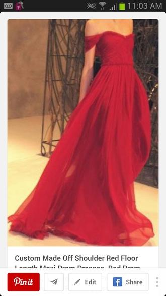 dress red dress tight waist flowy dress long dress off the shoulder prom dress