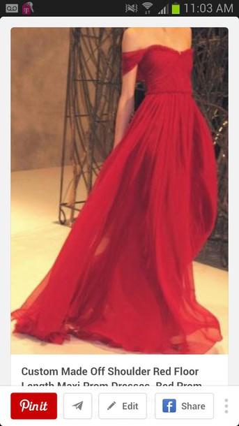 2e188d134909 dress red dress tight waist flowy dress long dress off the shoulder prom  dress