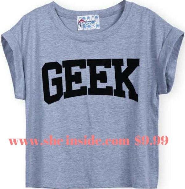 shirt geek geek shirt crop tops grey sheinside.com she inside sheinside t-shirt