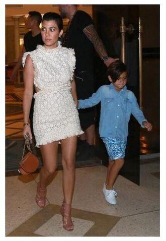 dress lace dress mini dress kourtney kardashian sandals shoes