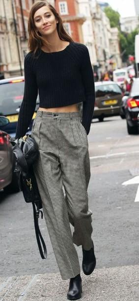 pants alana zimmer houndstooth model checkered wide-leg pants boyish