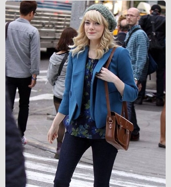 blouse blue floral gwen stacy emma stone jacket bag