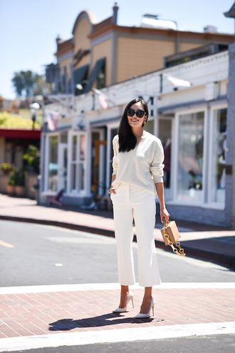 sweater white sweater white pants tumblr pants pumps pointed toe pumps bag work outfits office outfits shoes