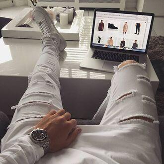 jeans maniere de voir ripped white vic mensa pants