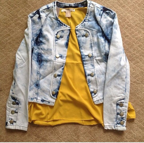 denim jacket yellow jeans jacket