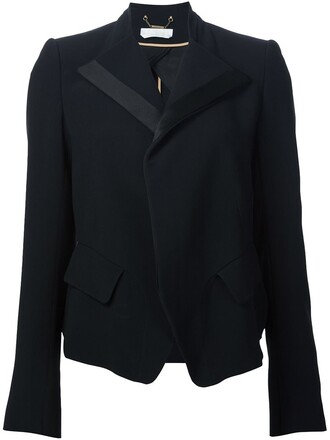 blazer women black silk jacket