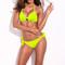 Neon green full lined solid print halter top bikini set