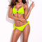 Neon green full lined solid print halter top bikini set | emprada