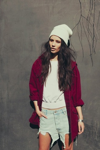 shorts jacket jeans denim jacket girl watch sweater burgundy jacket white beenie silver watch denim shorts
