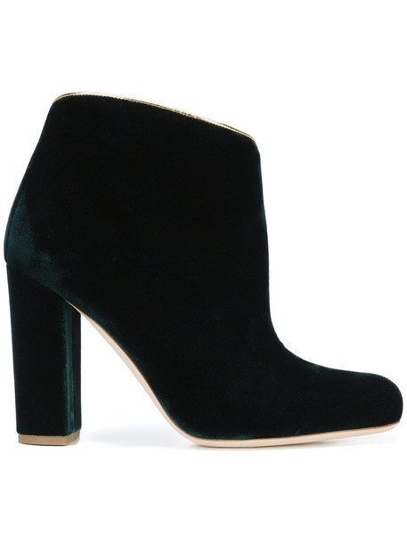 MALONE SOULIERS women leather velvet green shoes