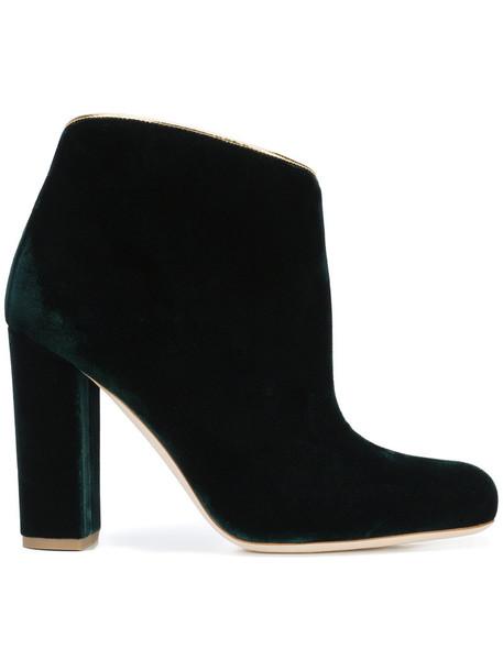 women leather velvet green shoes