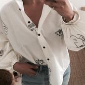 blouse,clothes,fashion,white shirt,white blouse,shirt,drawings,sketch,denim,jeans,classy,eyes,face,button shirt,white button shirt,collar shirt,white collar shirt,lips,drawings on it,fashion inpo,pretty,beautiful