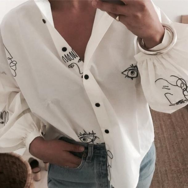 blouse clothes fashion white shirt white blouse shirt drawings sketch denim jeans classy eyes face button shirt white button shirt collar shirt white collar shirt lips drawings on it fashion inpo pretty beautiful