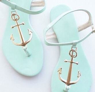 shorts shoes flip-flops blue aqua blue anchor tstrap summer sommer summer flip flops summer shoes