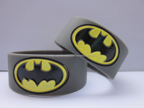 "Batman 1"" Wide Silicone Color Filled Debossed Bracelet Wristband Custom Design on Wanelo"