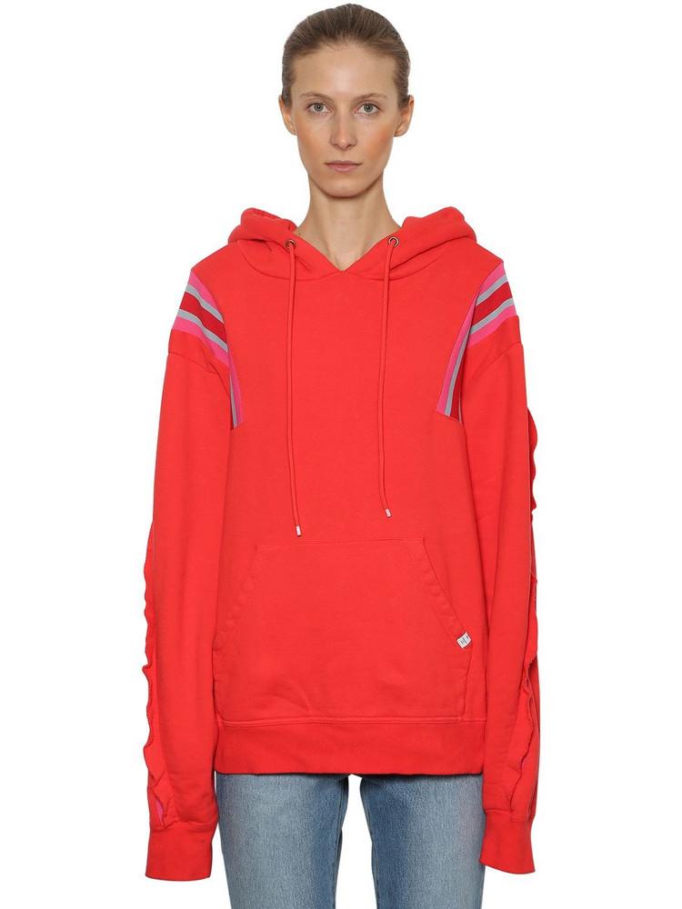 FACETASM Oversized Sweatshirt Hoodie W/ Rib Bands in red